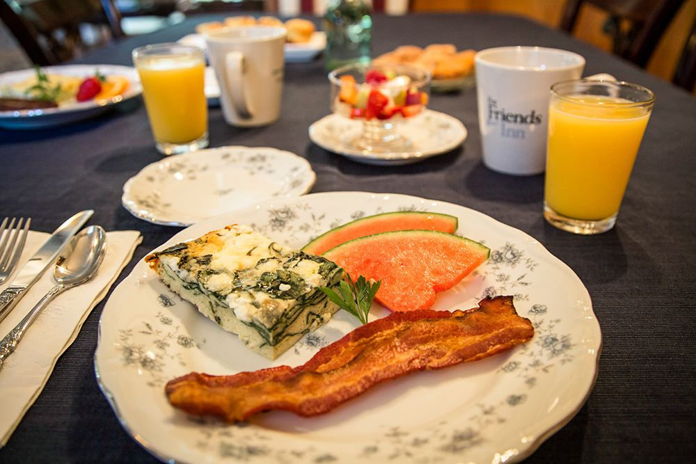 Crustless Quiche, Applewood Smoked Bacon, Fresh Fruit, OJ, and Our Special Blend of Coffee